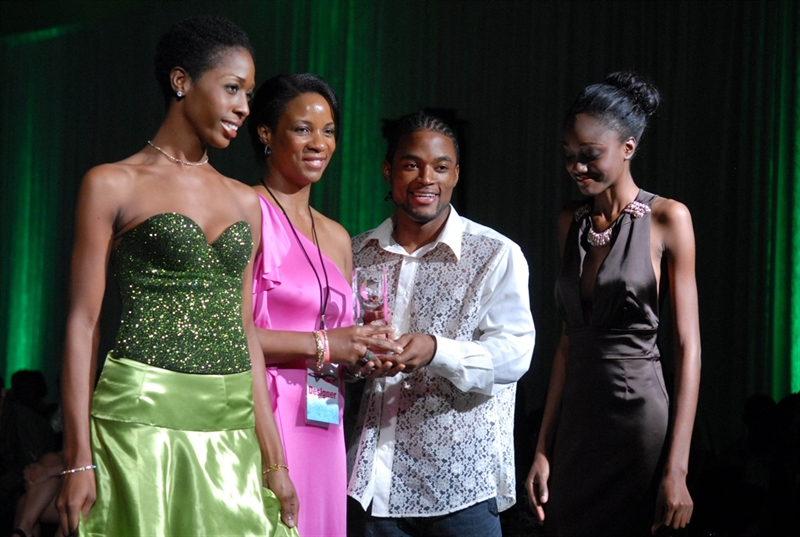 From left, Darcel De Vlugt, Mark Eastman and Lisa See Tai, the three  Trinidadian designers who were part of the London Showcase, a part of  London Fashion ...